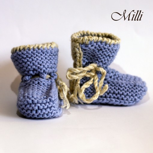 Knitted baby boots by Milli, 9cm length