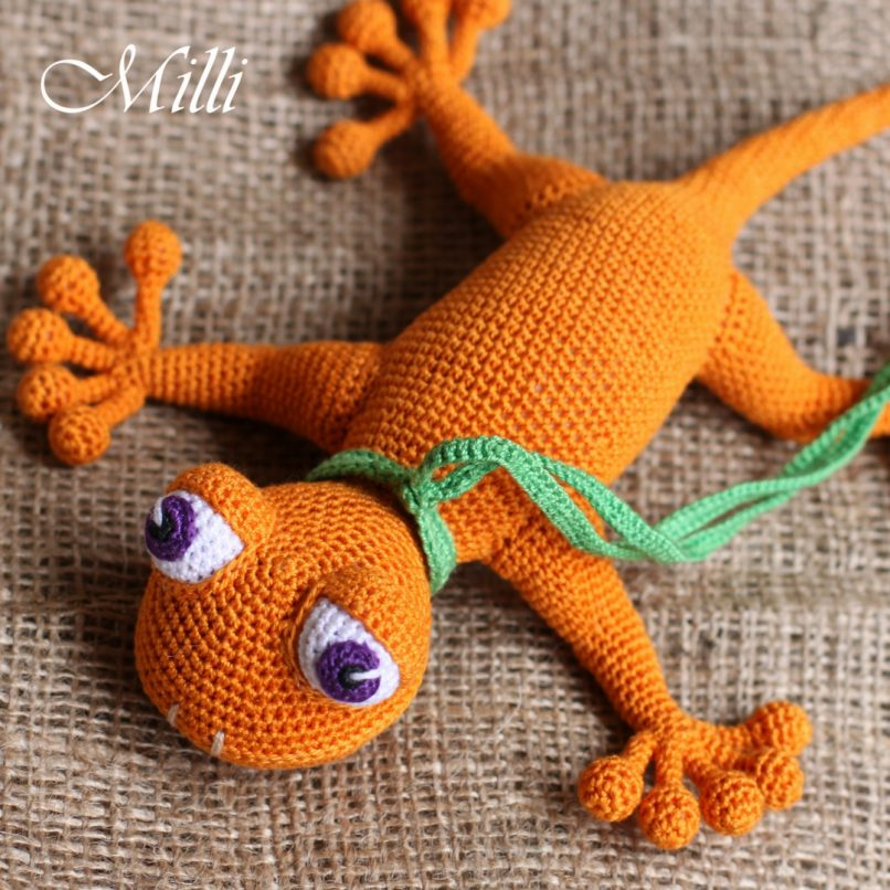 Handmade Baby toy Gecko Pink by MilliCrafts.comHandmade Baby toy Gecko Orange by MilliCrafts.com