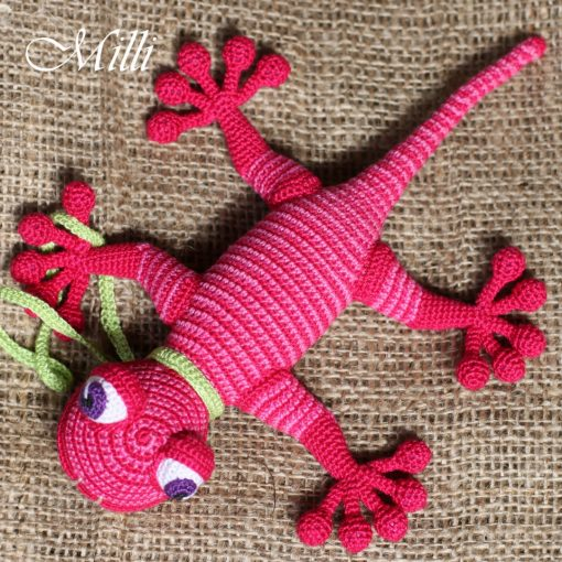 Handmade Baby toy Gecko Pink by MilliCrafts.comHandmade Baby toy Gecko Pink-Red stripes by MilliCrafts.com