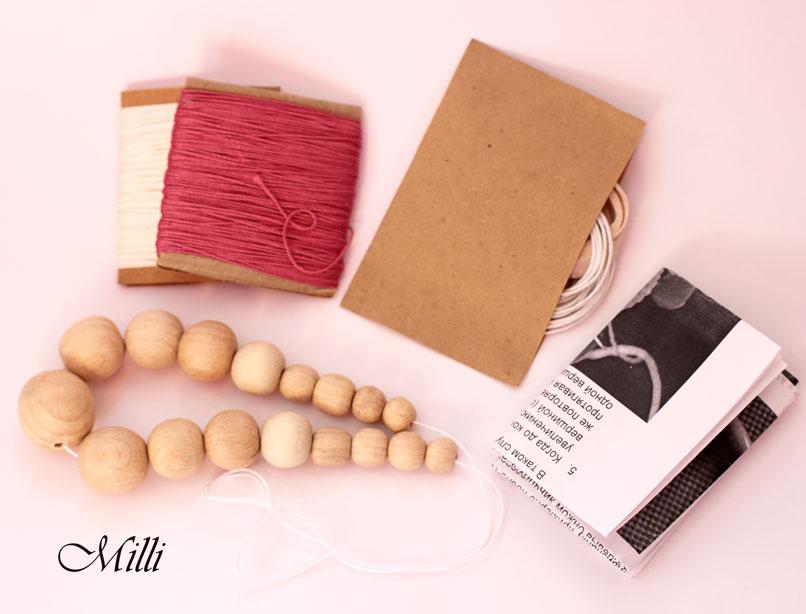 Milli Crochet DIY Kit dark pink and beige