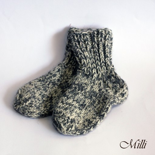 Knitted warm baby socks, 14,5cm length