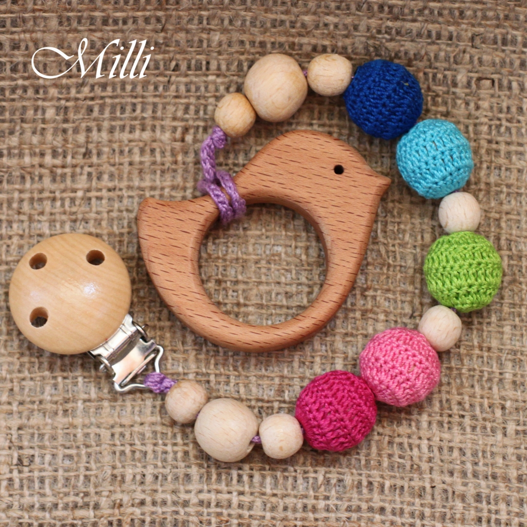 MilliCrafts.com Handmade Natural Wooden Toy -Teether with a clip Bird in Israel