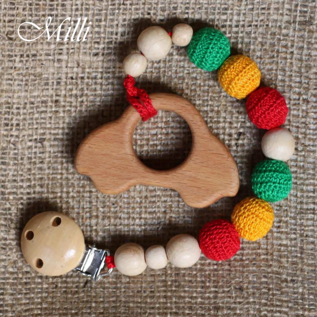 MilliCrafts.com Handmade Natural Wooden Toy -Teether with a clip Car in Israel