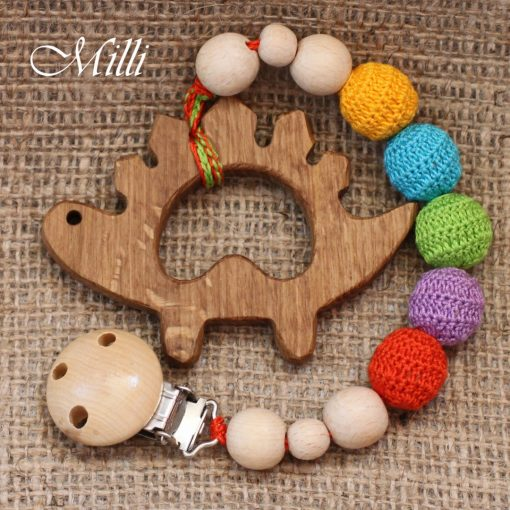 MilliCrafts.com Handmade Natural Wooden Toy -Teether with a clip Dinosaur in Israel