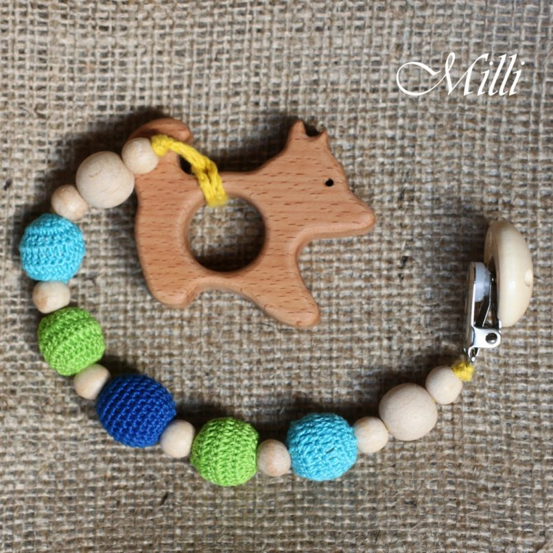 MilliCrafts.com Handmade Natural Wooden Toy -Teether with a clip Dog in Israel