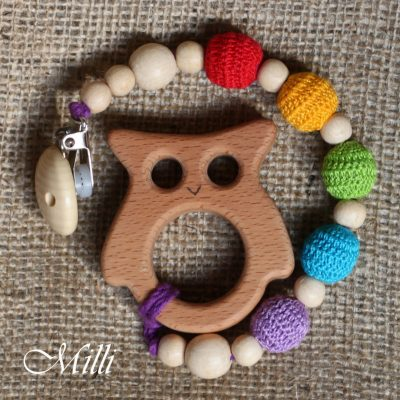 MilliCrafts.com Handmade Natural Wooden Toy -Teether with a clip Owl in Israel