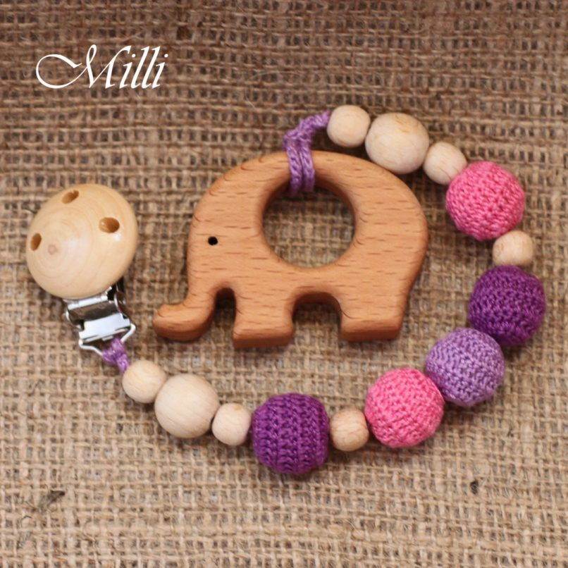 MilliCrafts.com Handmade Natural Wooden Toy -Teether with a clip Pink Elephant in Israel