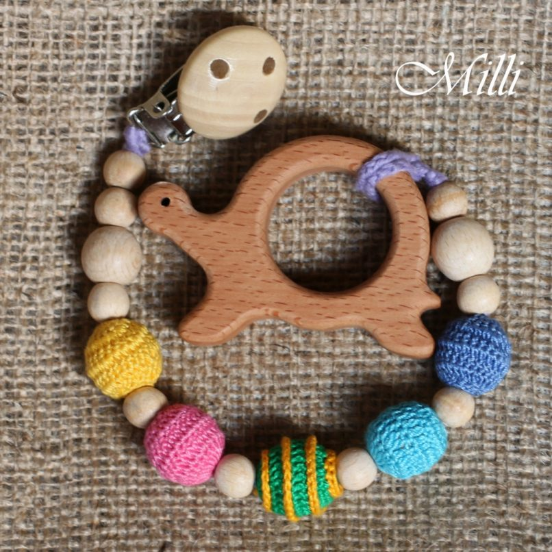 MilliCrafts.com Handmade Natural Wooden Toy -Teether with a clip Turtle in Israel