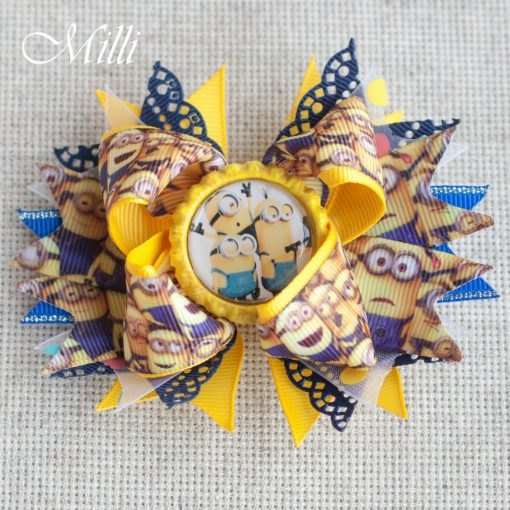 #107 Big hair bow Minions by MilliCrafts.com - 1pcs available