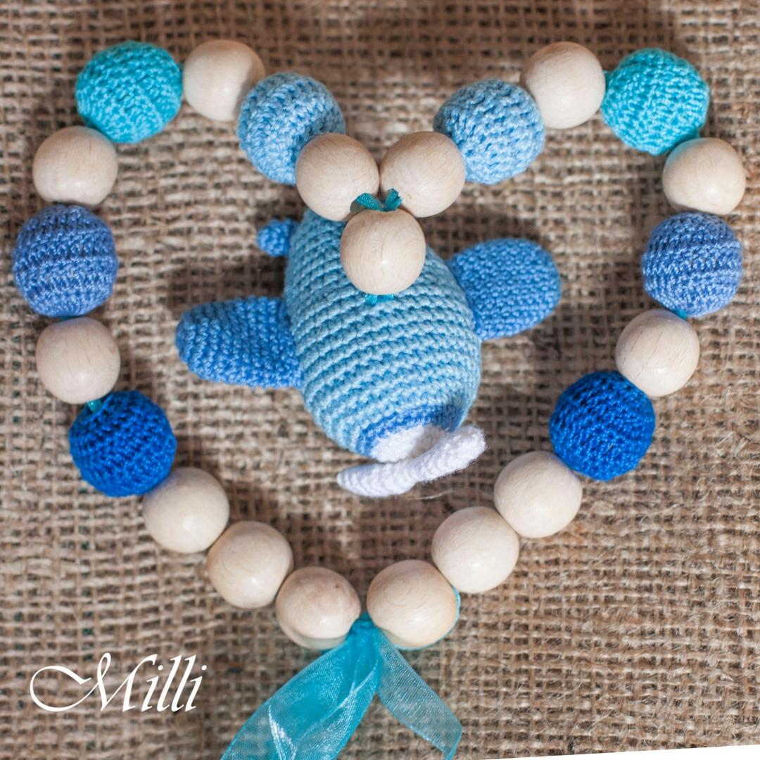 MilliCrafts.com Nursing Necklace with a plane rattle