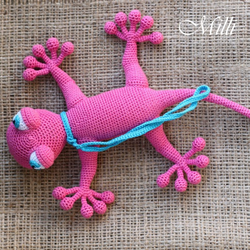 Handmade Baby toy Gecko Pink by MilliCrafts.comHandmade Baby toy Gecko Pink by MilliCrafts.com