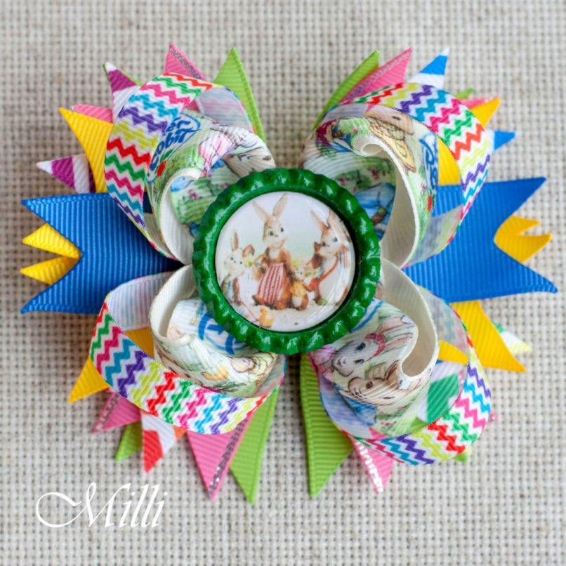 #104 Big hair bow clip Fairy Rabbits by MilliCrafts.com - 1pcs available