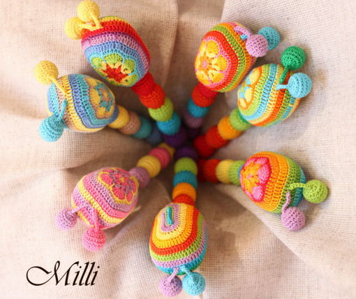Handmade Bright Maraca Toy (rattle) by MilliCrafts.com