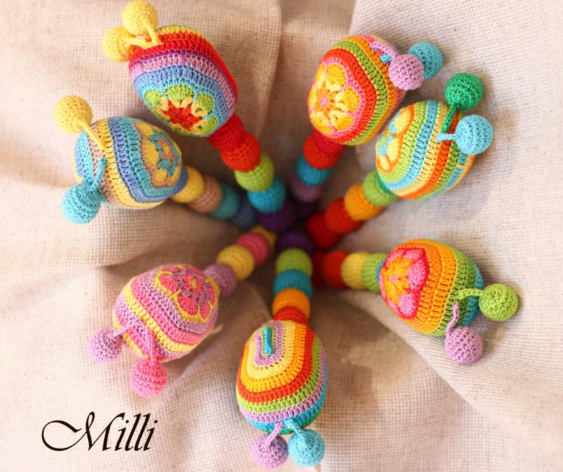 Handmade Bright Maraca Toy (rattle) by MilliCrafts.com