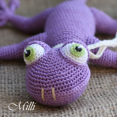 Handmade Baby toy Gecko Violet by MilliCrafts.com