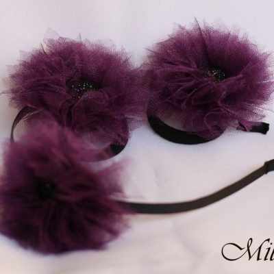 Violet flower hair band and ponytail holders by MilliCrafts