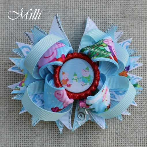 #108 Big hair bow Peppa Pig by MilliCrafts.com - 1pcs available