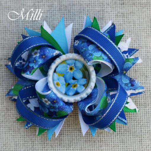 #109 Big hair bow Spring Flowers by MilliCrafts.com - 1pcs available