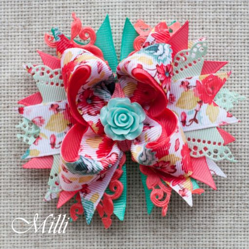 #103 Big hair bow clip Pastel Rose by MilliCrafts.com - 2pcs available