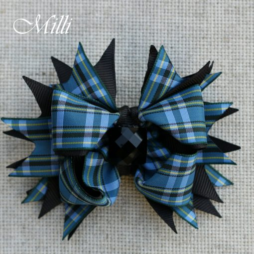 #111 Big hair bow Blue Cells by MilliCrafts.com - 1pcs available
