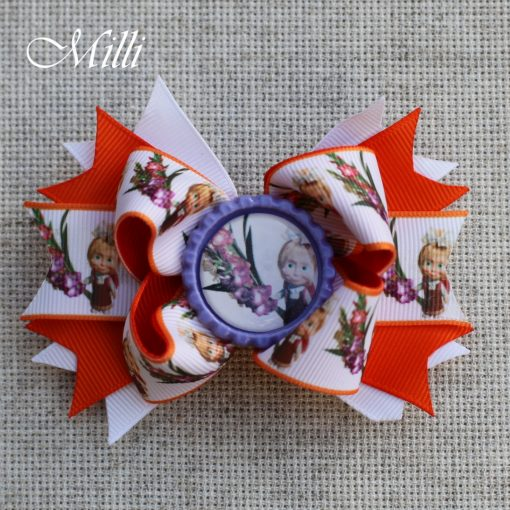 #112 Big hair bow Masha and a Bear by MilliCrafts.com - 1pcs available
