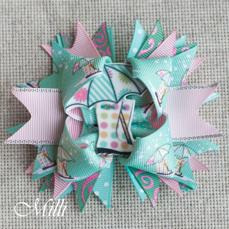 #106 Big hair bow Pastel Rain Lace by MilliCrafts.com - 1pcs available