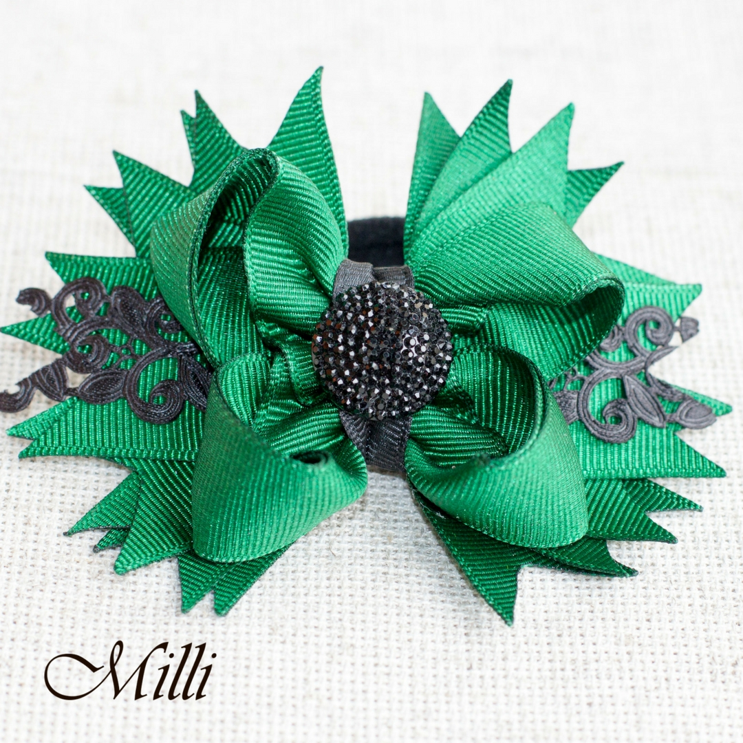 #102 Big hair bow clip Green lace by MilliCrafts.com - 1pcs available