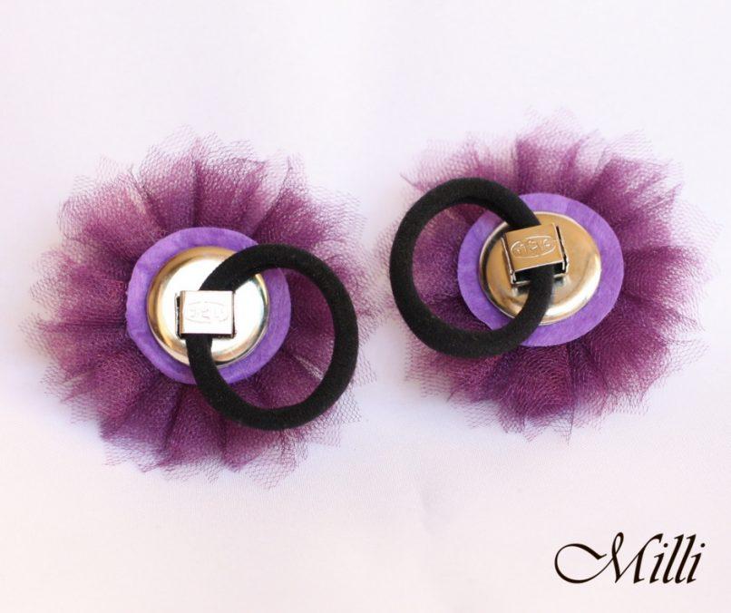 Violet flower ponytail holders by MilliCrafts