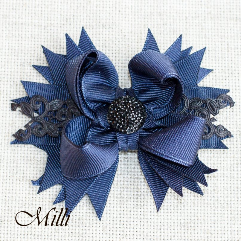 #105 Big hair bow clip Dark Blue Lace by MilliCrafts.com - 1pcs available