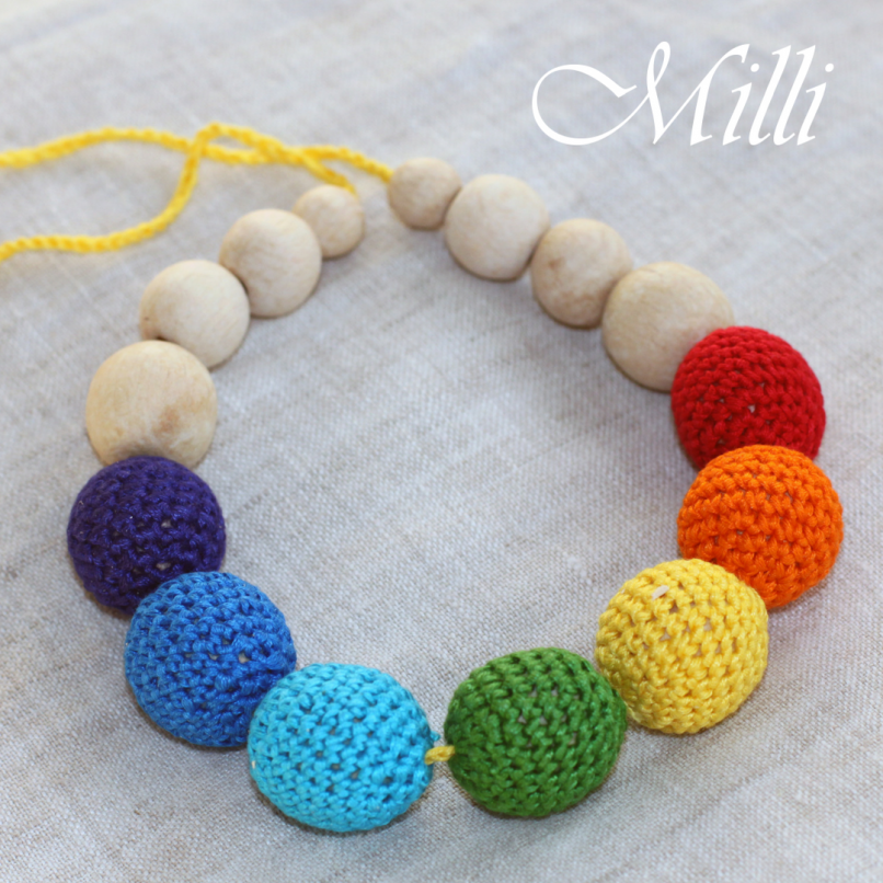 Teething Nursing Rainbow Necklace by MilliCrafts.com