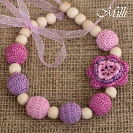 Pink-Violet nursing necklace with a flower by MilliCrafts.com