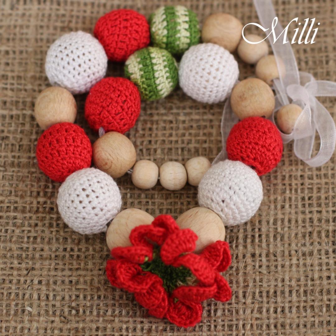 Nursing / Teething Necklace Poppy Flower millicrafts.com
