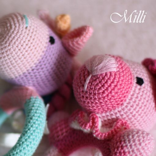 Teether-wooden toy pink handmade by millicrafts.com