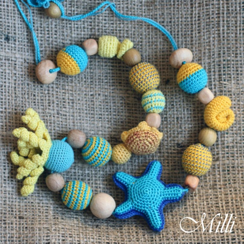 Nursing/ teething Marine Necklace handmade by MilliCrafts..com