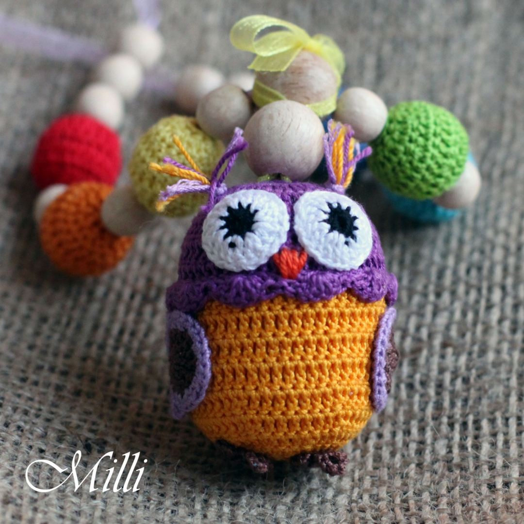 Handmade nursing teething owl necklace with rattle by Millicrafts.com