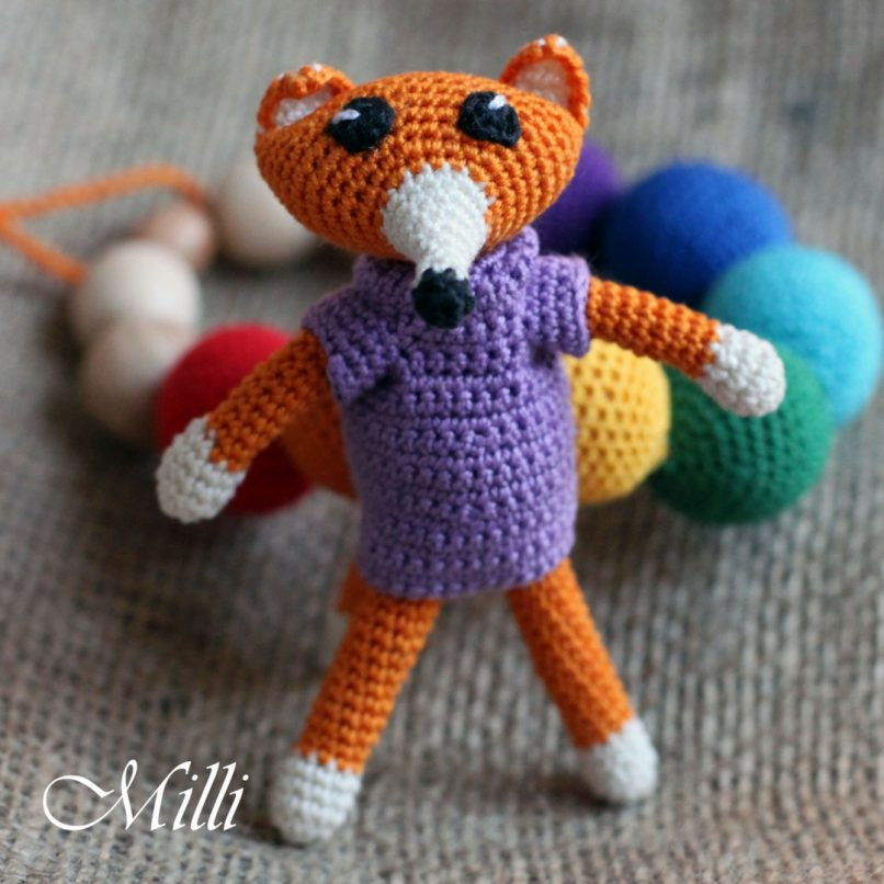 Crochet Handmade Teething / Nursing Fox Necklace by MilliCrafts.com