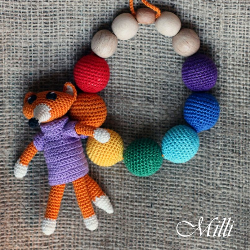 Crochet Handmade Teething / Nursing Necklace with a Fox by MilliCrafts.com