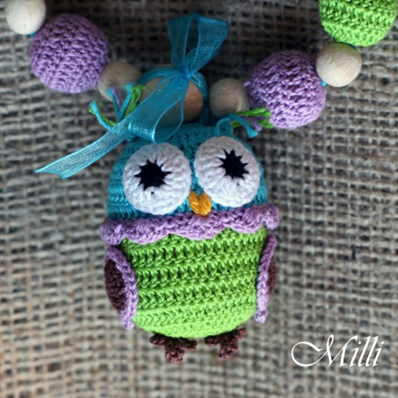 Handmade nursing teething necklace with owl rattle by Millicrafts.com