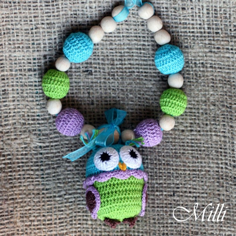 Handmade nursing teething necklace with owl rattle by Millicrafts.com - green and violet