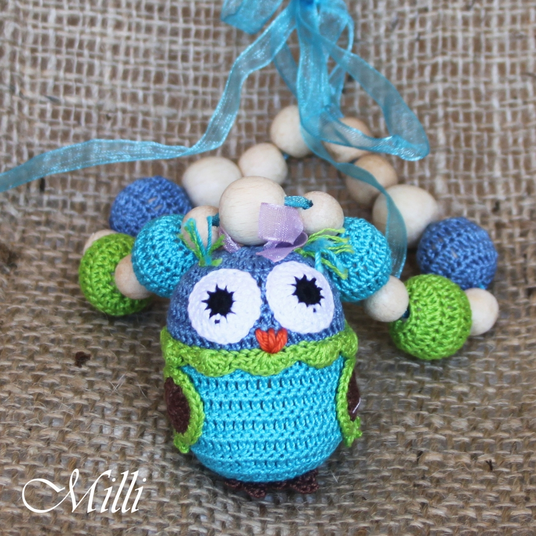 Nursing Necklace owl green-blue millicrafts.com