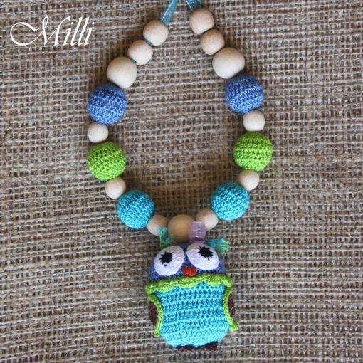 Nursing Necklace owl green-blue millicrafts.com