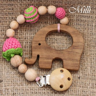 MilliCrafts.com Handmade Natural Wooden Toy -Teether with a clip Elephant in Israel