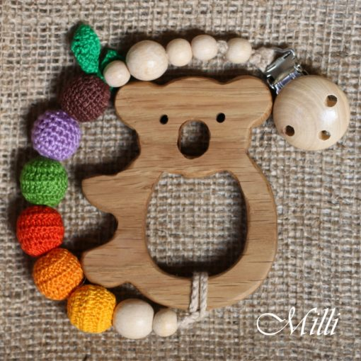 MilliCrafts.com Handmade Natural Wooden Teether with a toy and a clip Koala in Israel