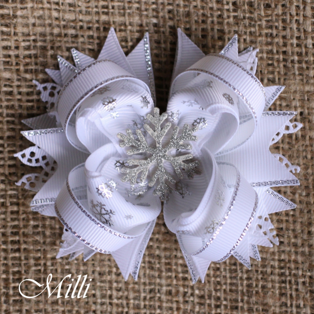 #201 Snowflake hair bow by MilliCrafts.com - 1pcs available