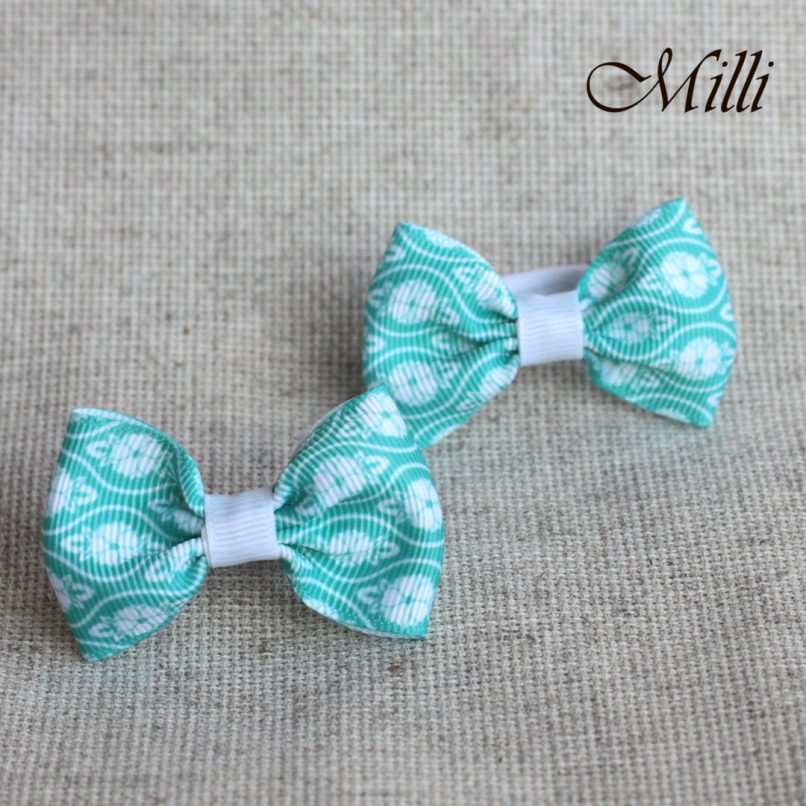 #10 Handmade hair bands/ scrunchies by Millicrafts.com - mint lace - 2pcs available