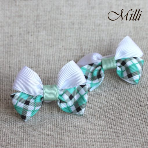 #8 Handmade hair bands/ scrunchies by Millicrafts.com - white and green cells- 2pcs available