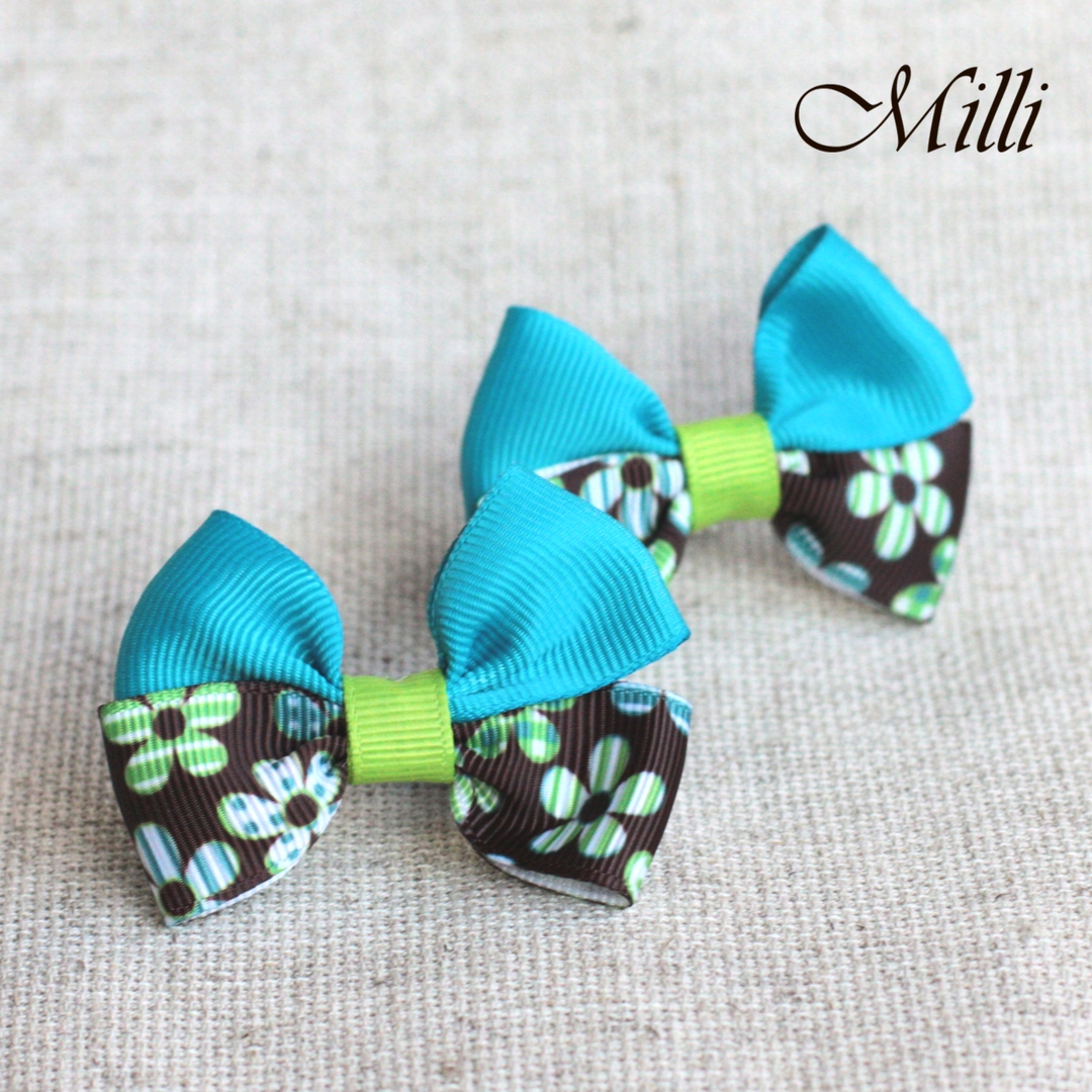 #9 Handmade hair bands/ scrunchies by Millicrafts.com - aquamarine and brown flowers- 2pcs available