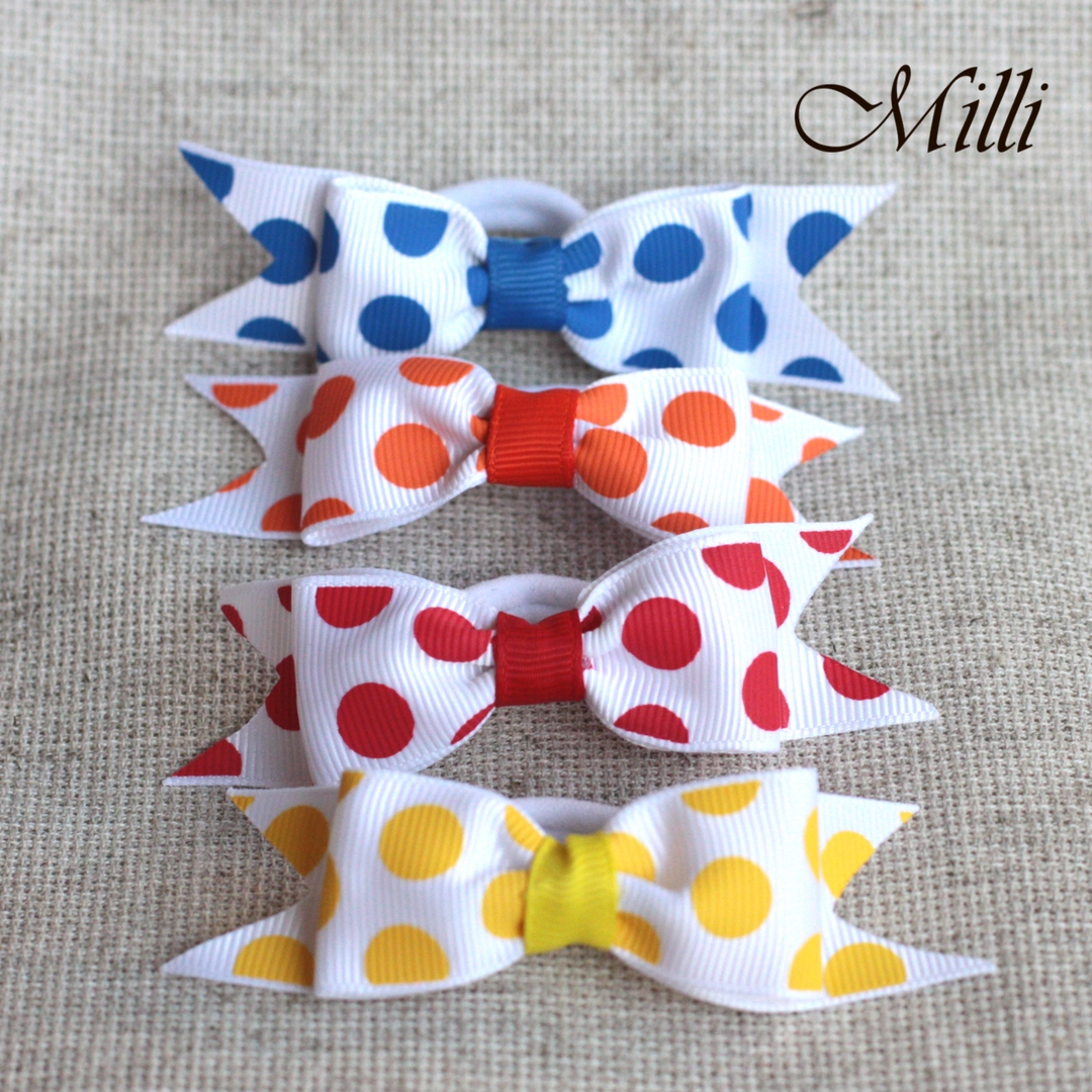 #13 Handmade hair bands/ scrunchies by Millicrafts.com - polka-dot yellow orange red blue- 5pcs available