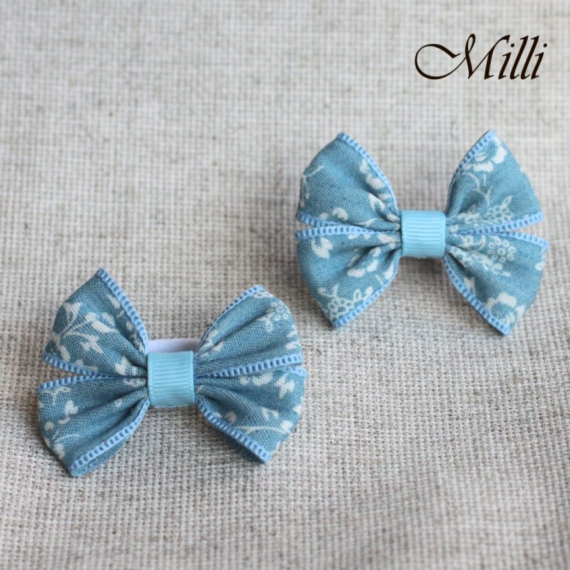 #16 Handmade hair bands/ scrunchies by Millicrafts.com - cotton blue- 2pcs available