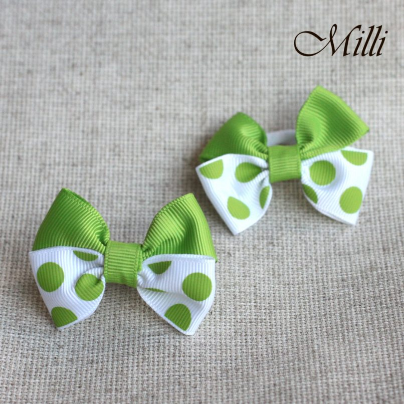 #12 Handmade hair bands/ scrunchies by Millicrafts.com - polka-dot green- 2pcs available